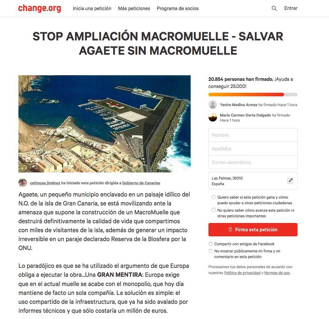 imagen de la campaña de recogida de firmas para parar la ampliación del macromuelle de agaete